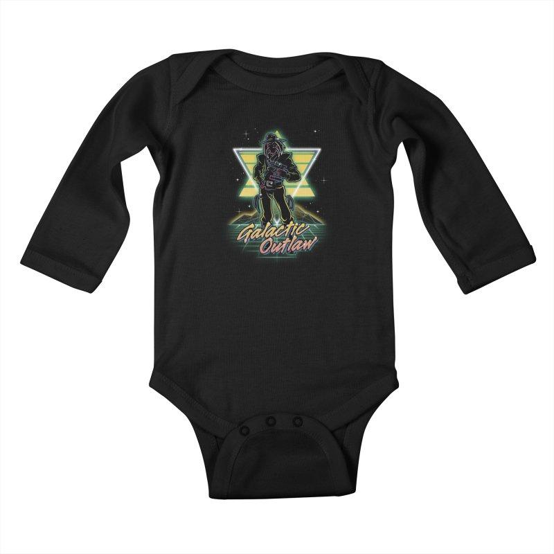 Retro Galactic Outlaw Kids Baby Longsleeve Bodysuit by Olipop Art & Design Shop