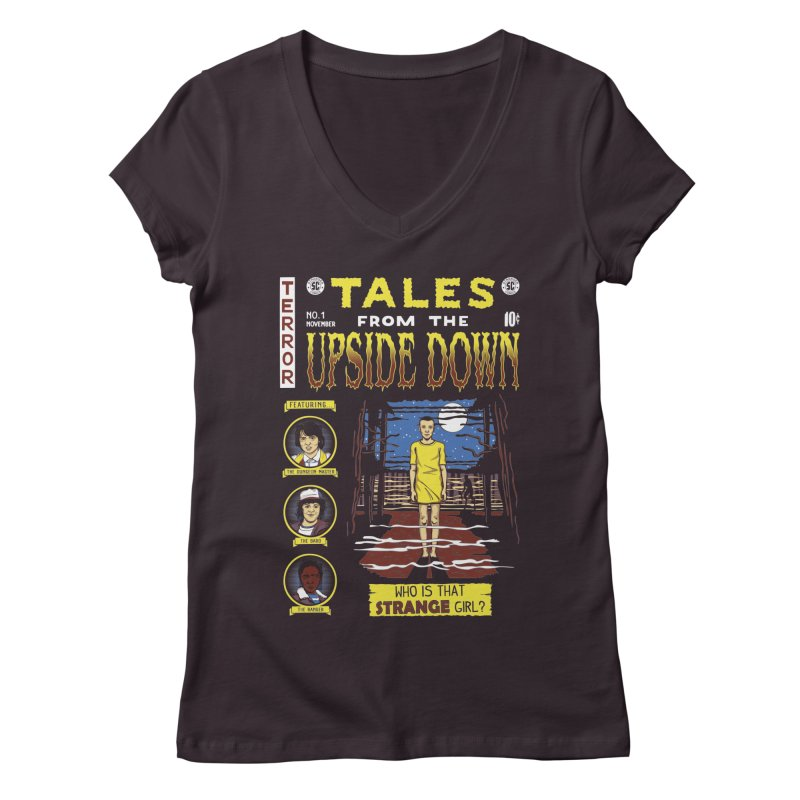 Tales from the Upside Down Women's Regular V-Neck by Olipop Art & Design Shop