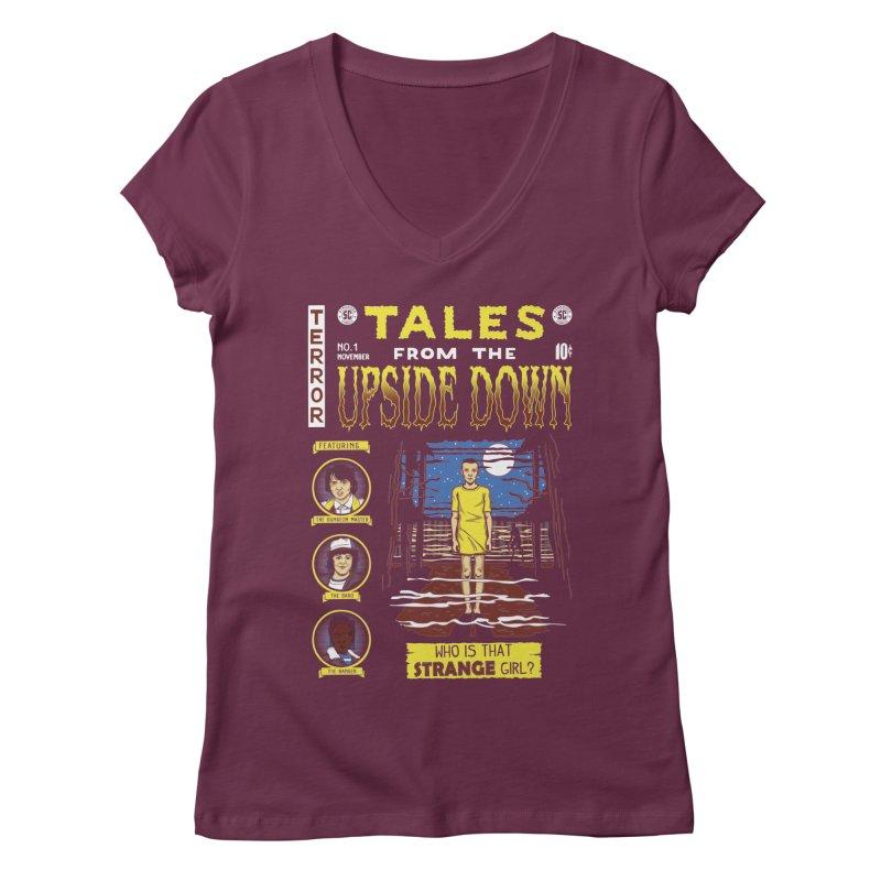 Tales from the Upside Down Women's Regular V-Neck by Olipop Art & Design Shop