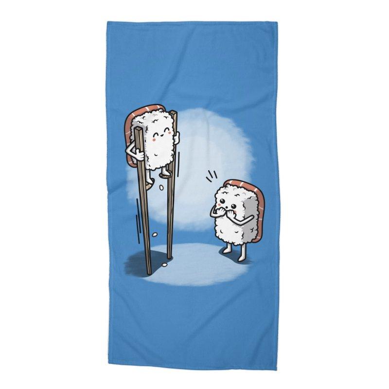 Sushi in Chopsticks Accessories Beach Towel by Olipop Art & Design Shop