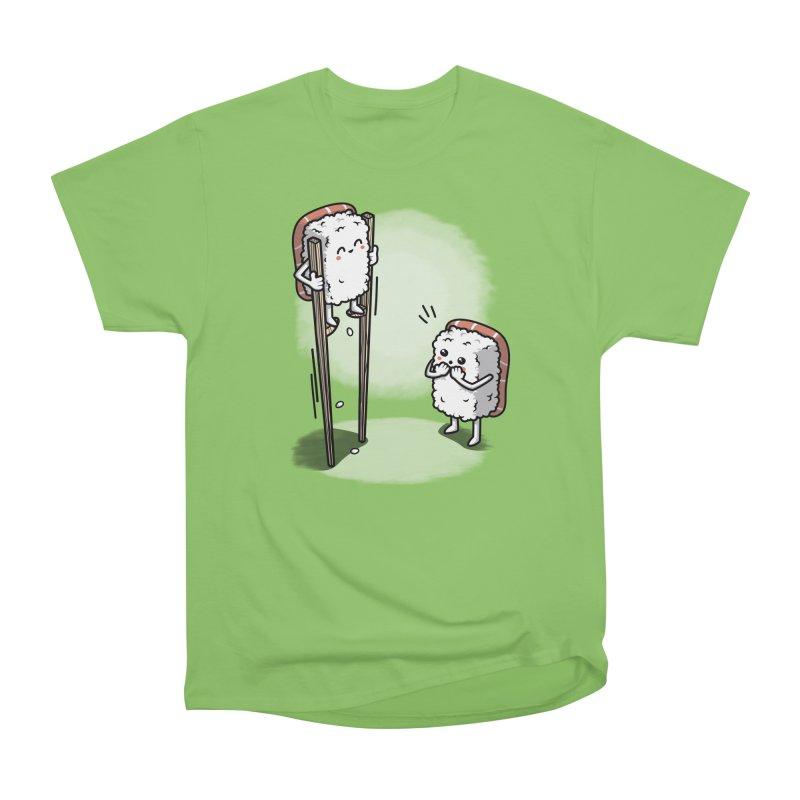 Sushi in Chopsticks Women's Heavyweight Unisex T-Shirt by Olipop Art & Design Shop