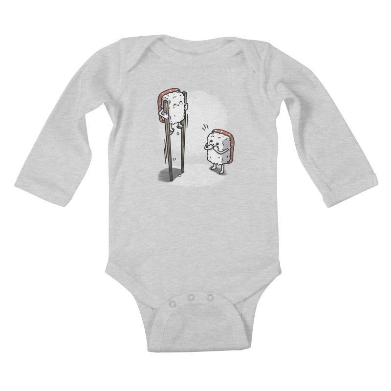 Sushi in Chopsticks Kids Baby Longsleeve Bodysuit by Olipop Art & Design Shop