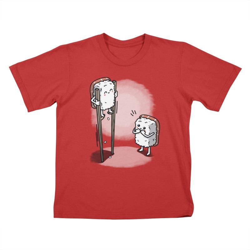 Sushi in Chopsticks Kids T-Shirt by Olipop Art & Design Shop