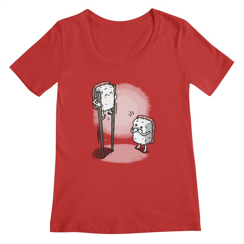 Sushi in Chopsticks Women's Regular Scoop Neck by Olipop Art & Design Shop