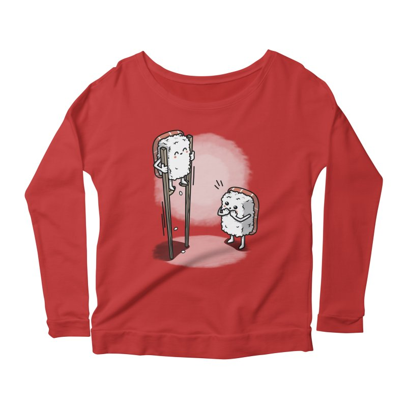 Sushi in Chopsticks Women's Scoop Neck Longsleeve T-Shirt by Olipop Art & Design Shop