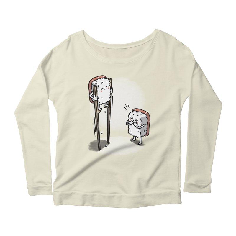 Sushi in Chopsticks Women's Scoop Neck Longsleeve T-Shirt by Olipop Art & Design Shop