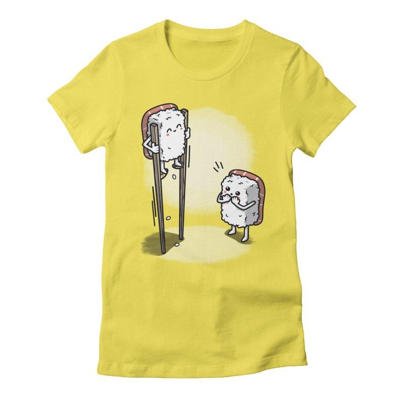Sushi in Chopsticks Women's Fitted T-Shirt by Olipop Art & Design Shop