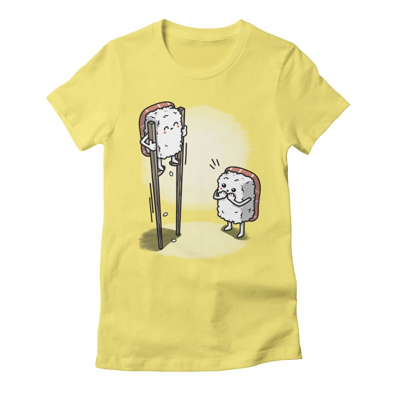 Sushi in Chopsticks Women's Fitted T-Shirt by Olipop Art & Design Shop