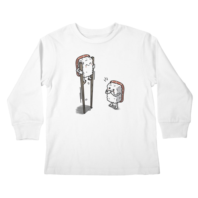 Sushi in Chopsticks Kids Longsleeve T-Shirt by Olipop Art & Design Shop
