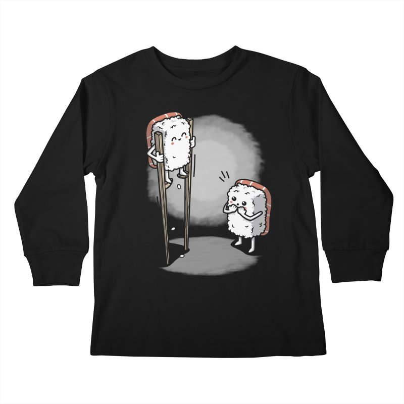 Sushi in Chopsticks Kids Longsleeve T-Shirt by Olipop Art & Design Shop