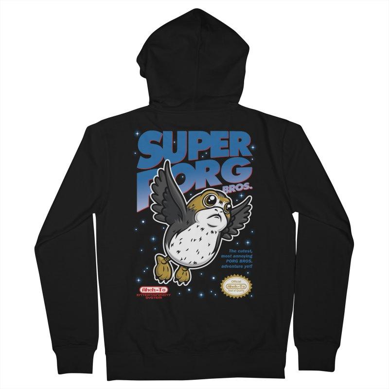 Super Porg Bros Men's French Terry Zip-Up Hoody by Olipop Art & Design Shop