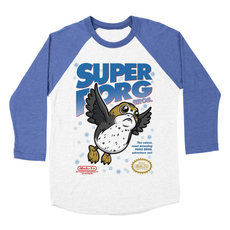 Super Porg Bros Men's Baseball Triblend T-Shirt by Olipop Art & Design Shop
