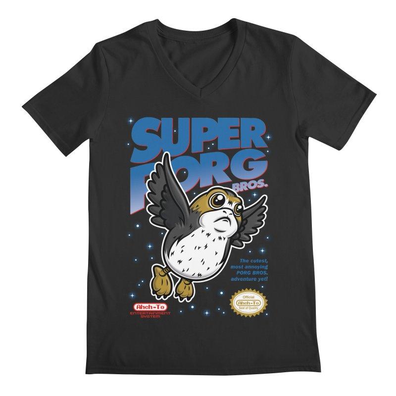 Super Porg Bros Men's Regular V-Neck by Olipop Art & Design Shop