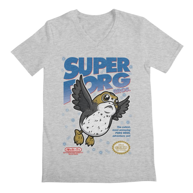 Super Porg Bros Men's Regular V-Neck by Olipop Art & Design Shop