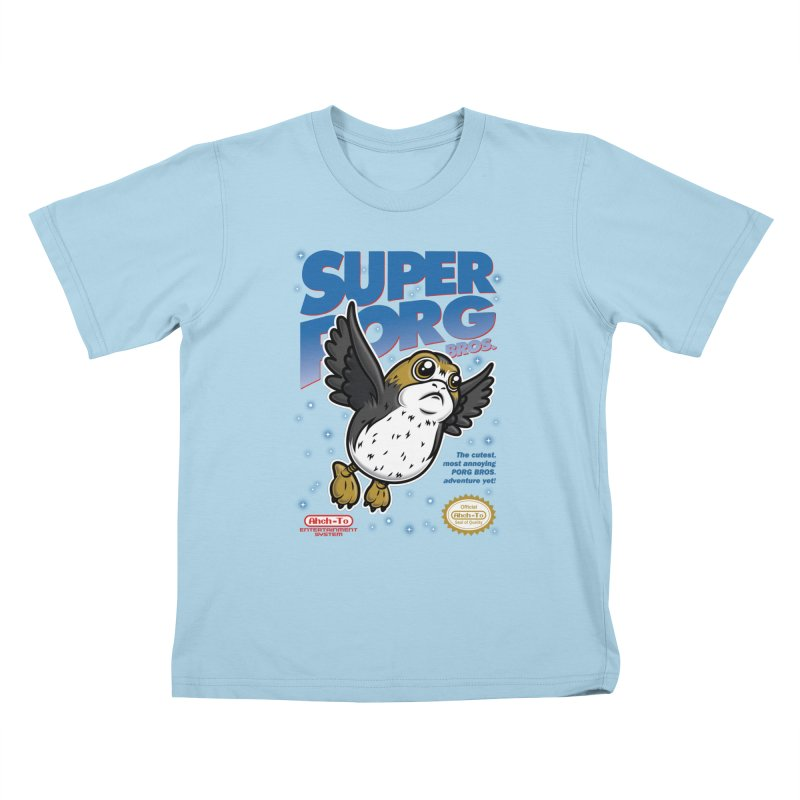 Super Porg Bros Kids T-Shirt by Olipop Art & Design Shop