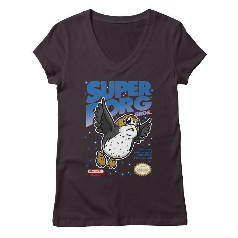Super Porg Bros Women's Regular V-Neck by Olipop Art & Design Shop