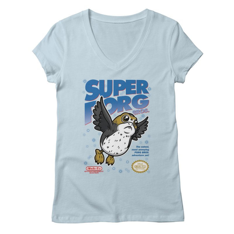 Super Porg Bros Women's Regular V-Neck by Olipop Art & Design Shop