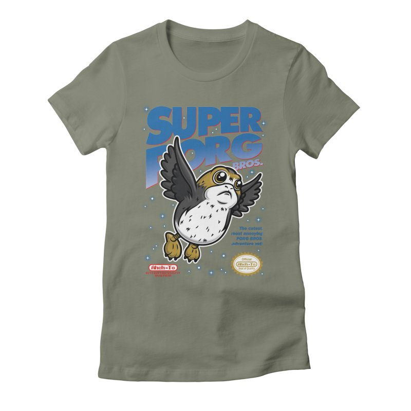 Super Porg Bros Women's Fitted T-Shirt by Olipop Art & Design Shop