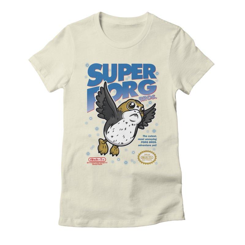 Super Porg Bros Women's Fitted T-Shirt by Olipop Art & Design Shop