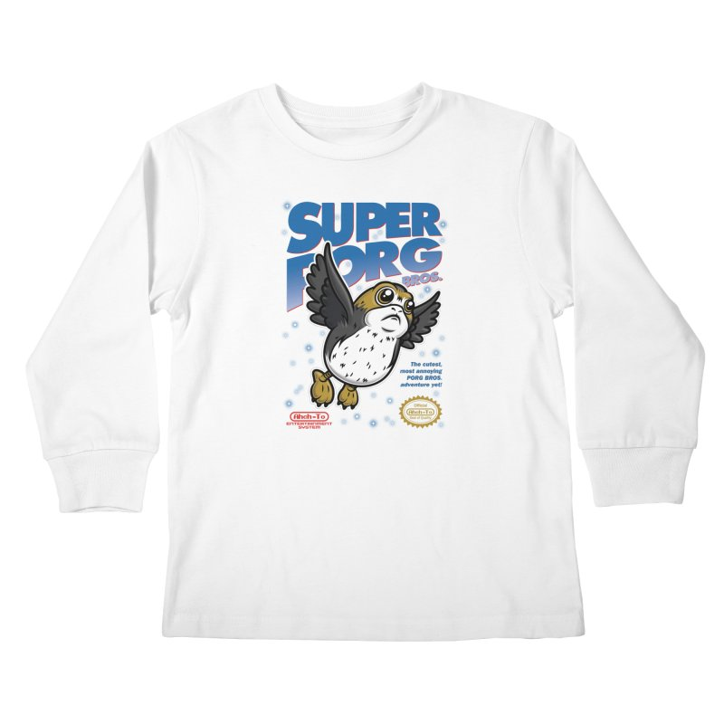 Super Porg Bros Kids Longsleeve T-Shirt by Olipop Art & Design Shop