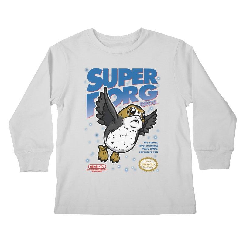 Super Porg Bros Kids Longsleeve T-Shirt by Olipop Art & Design Shop