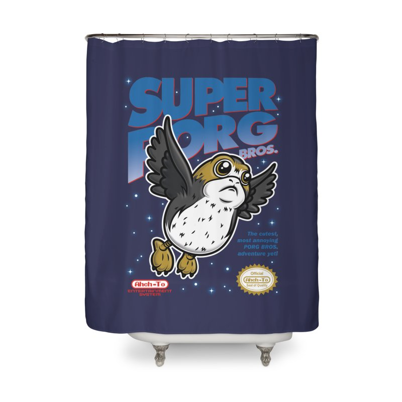 Super Porg Bros Home Shower Curtain by Olipop Art & Design Shop
