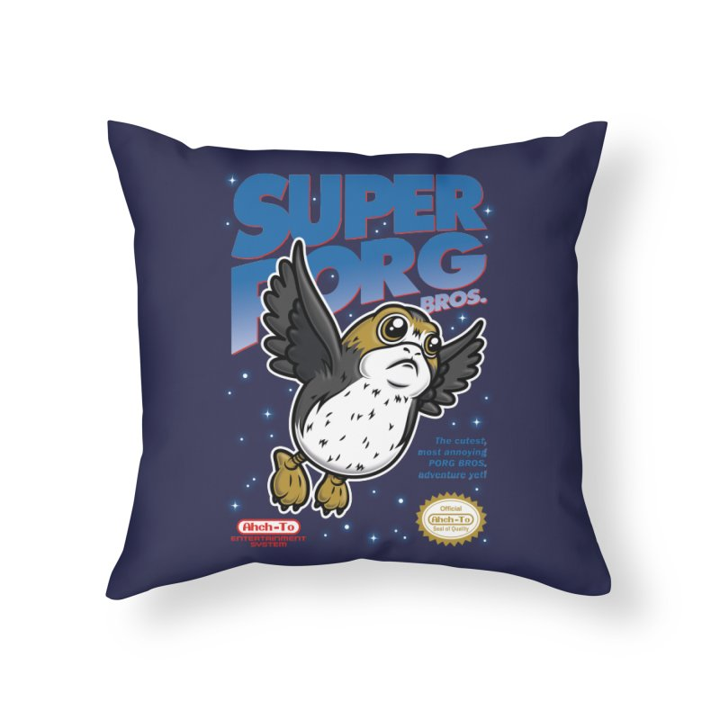 Super Porg Bros Home Throw Pillow by Olipop Art & Design Shop