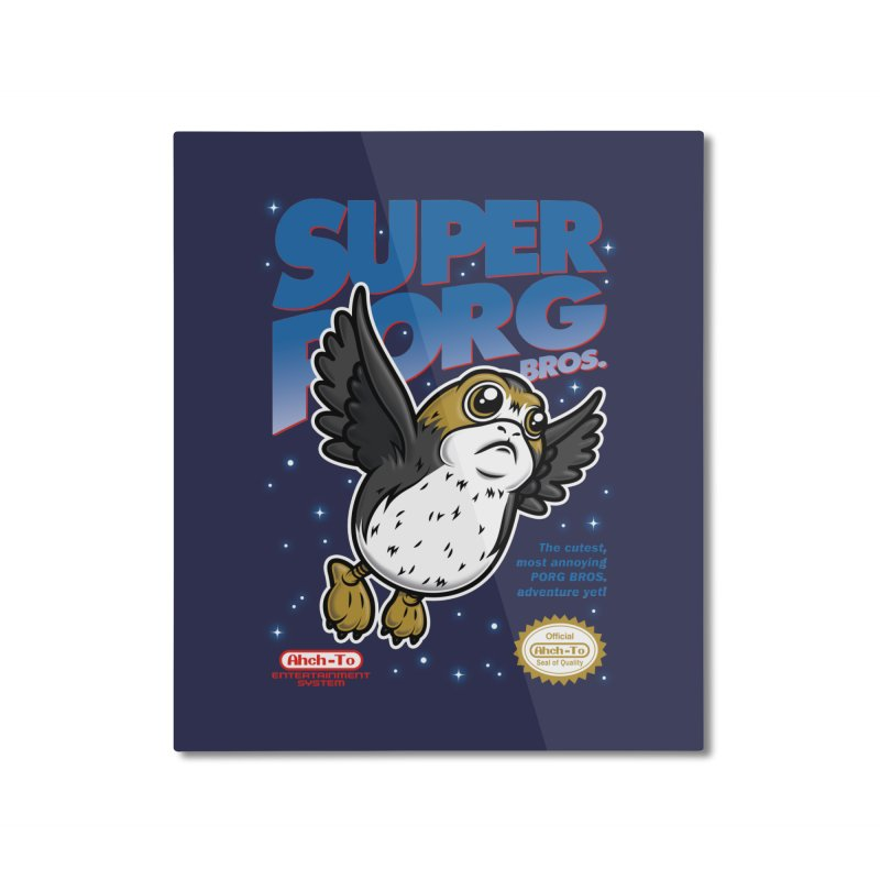 Super Porg Bros Home Mounted Aluminum Print by Olipop Art & Design Shop