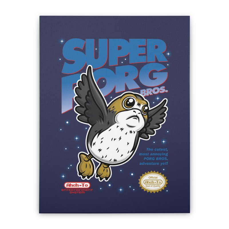 Super Porg Bros Home Stretched Canvas by Olipop Art & Design Shop