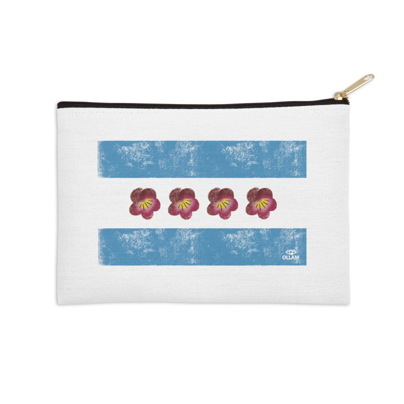 Chicago Flower Flag with Violets Accessories Zip Pouch by Ollam's Artist Shop