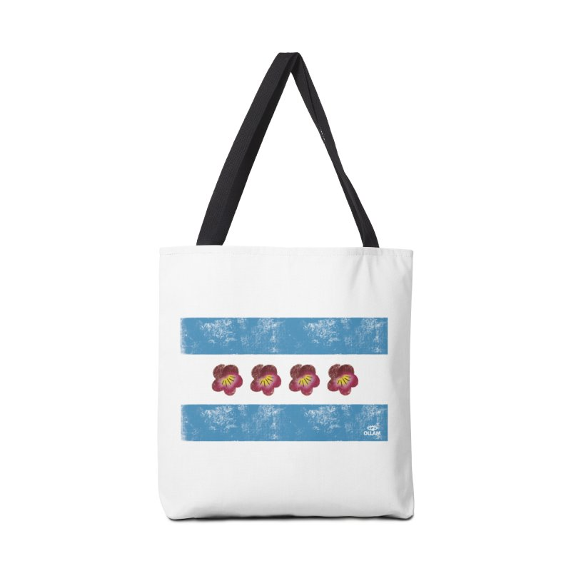 Chicago Flower Flag with Violets Accessories Bag by Ollam's Artist Shop