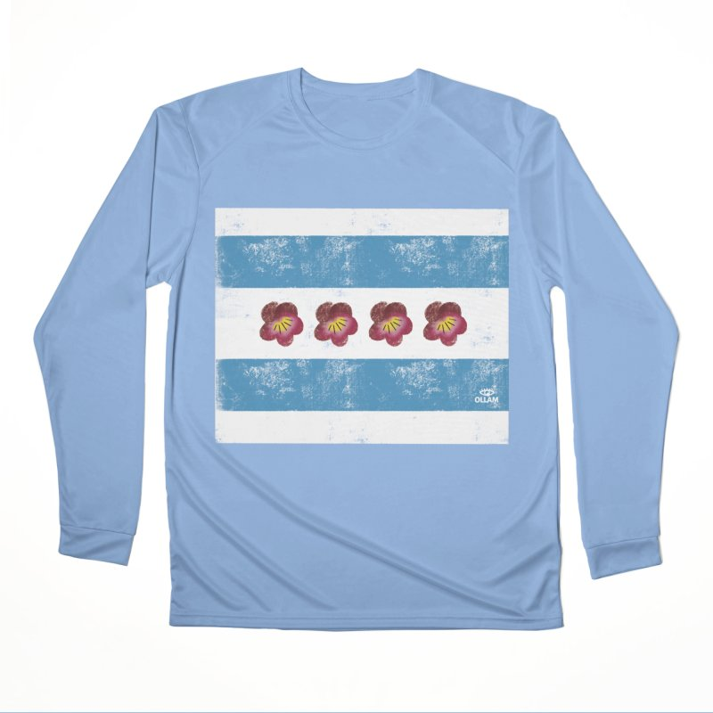 Chicago Flower Flag with Violets Women's Longsleeve T-Shirt by Ollam's Artist Shop