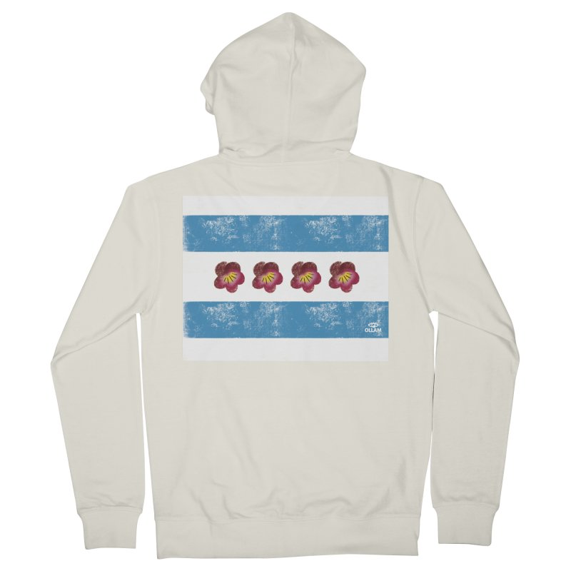 Chicago Flower Flag with Violets Women's Zip-Up Hoody by Ollam's Artist Shop