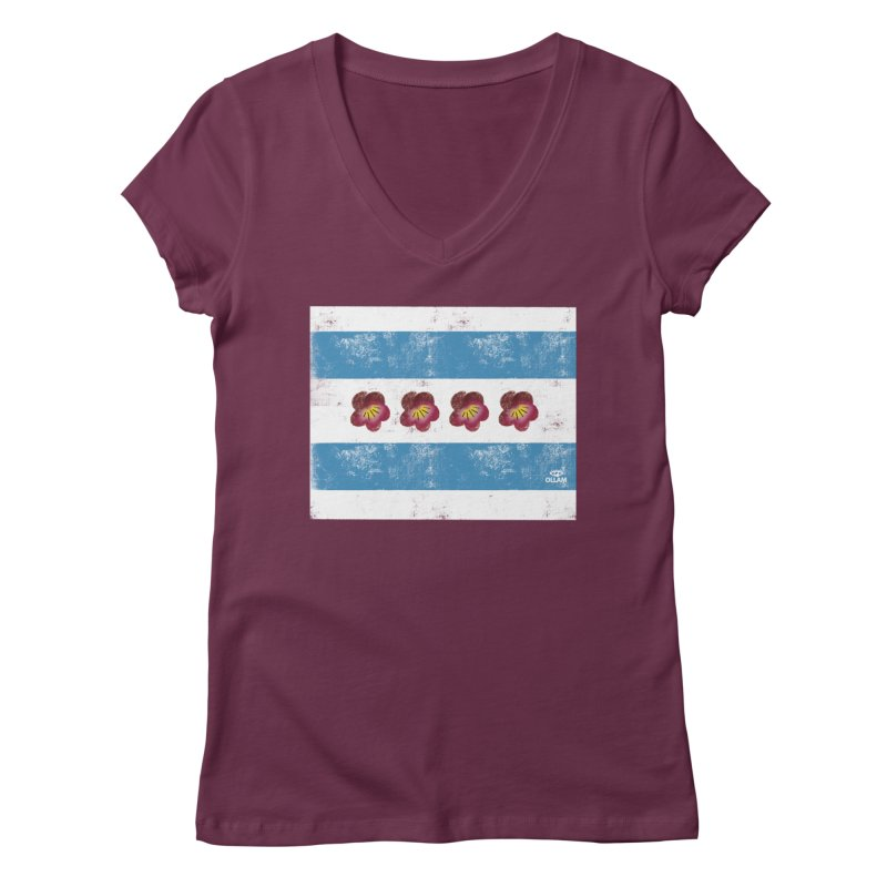 Chicago Flower Flag with Violets Women's V-Neck by Ollam's Artist Shop