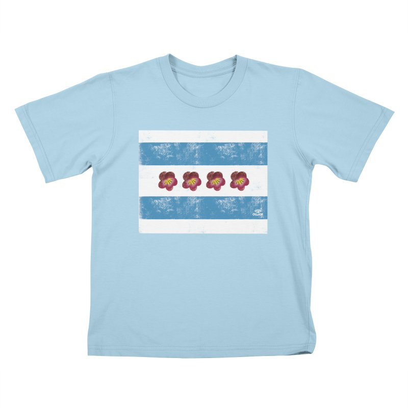 Chicago Flower Flag with Violets Kids T-Shirt by Ollam's Artist Shop