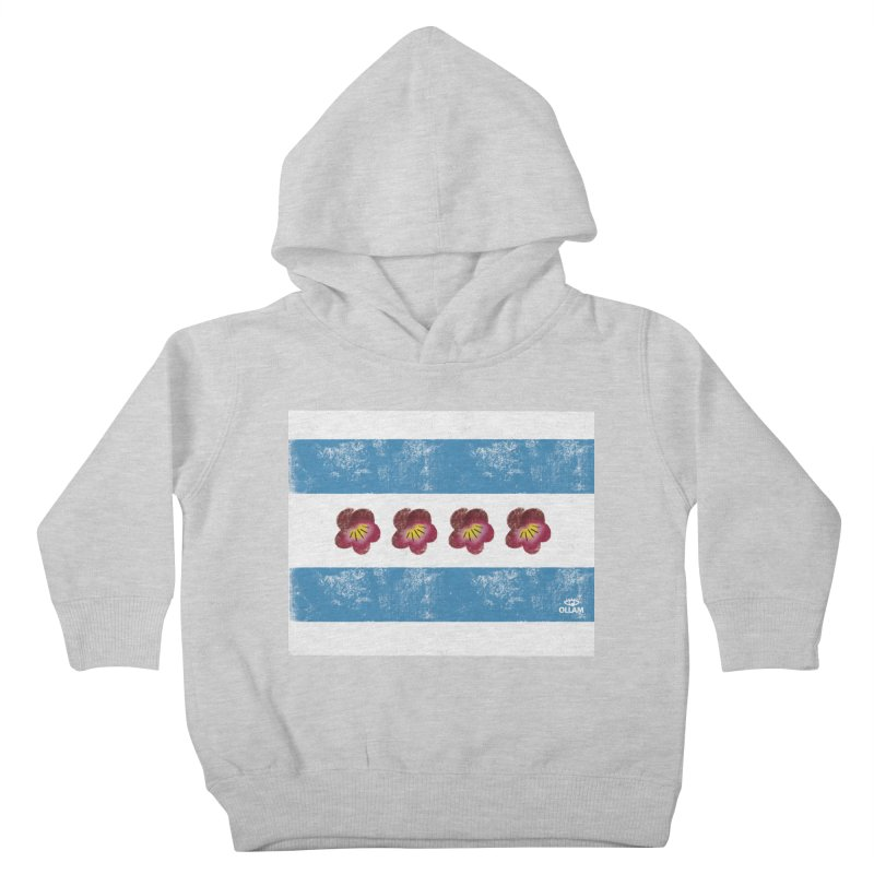 Chicago Flower Flag with Violets Kids Toddler Pullover Hoody by Ollam's Artist Shop