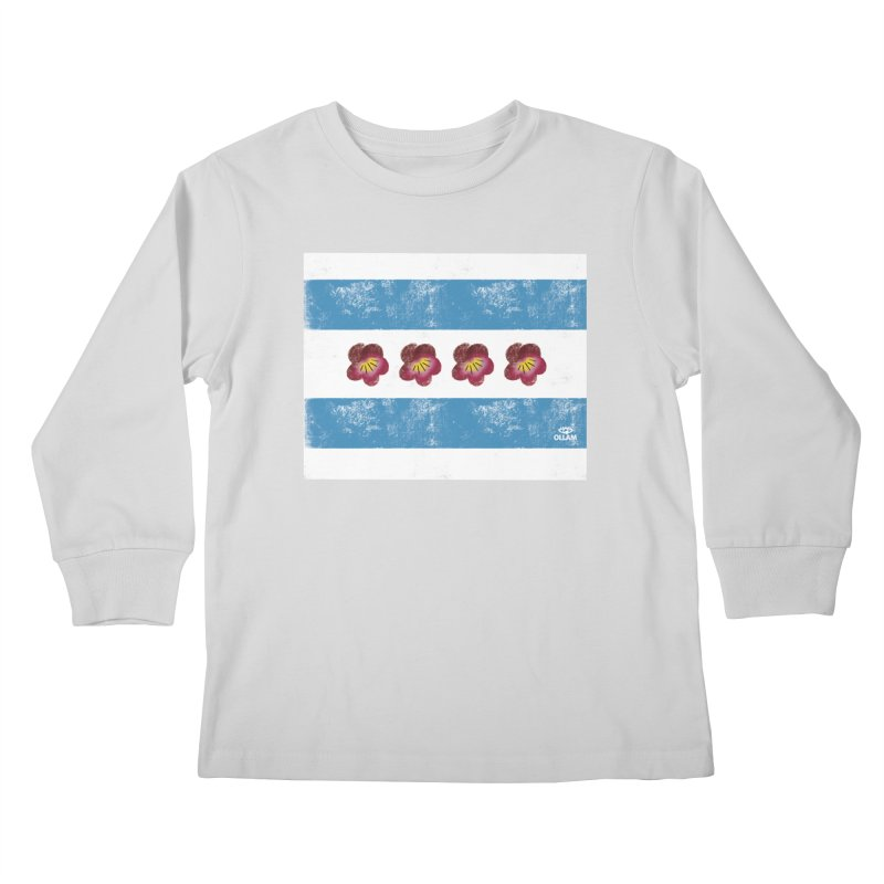 Chicago Flower Flag with Violets Kids Longsleeve T-Shirt by Ollam's Artist Shop