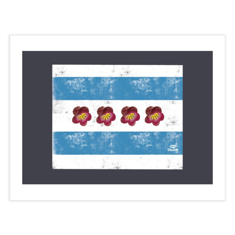 Chicago Flower Flag with Violets Home Fine Art Print by Ollam's Artist Shop