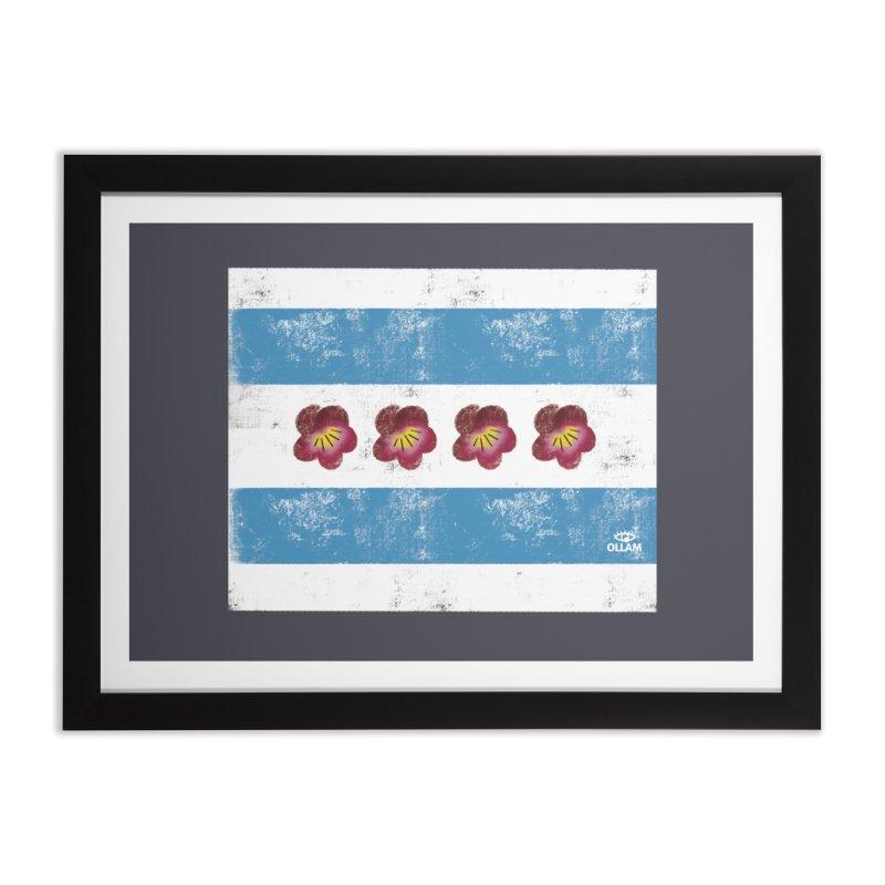 Chicago Flower Flag with Violets Home Framed Fine Art Print by Ollam's Artist Shop