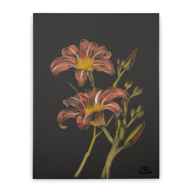 Tiger lily 2 Home Stretched Canvas by Ollam's Artist Shop