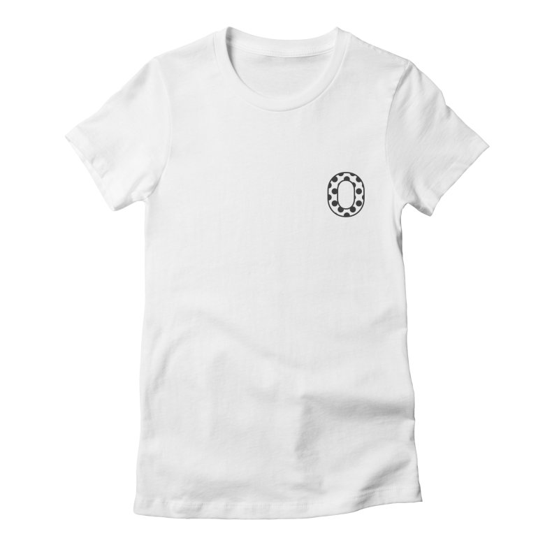 O - Polka Dot Black/White Women's Fitted T-Shirt by Ominous Artist Shop