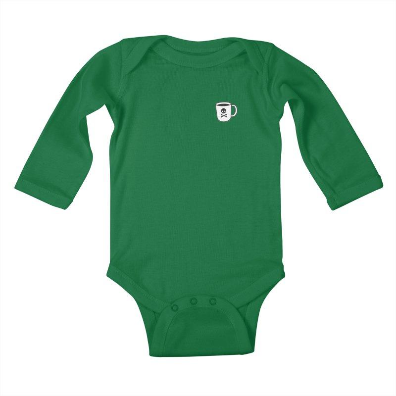 Coffee & Crossbones Kids Baby Longsleeve Bodysuit by Ominous Artist Shop