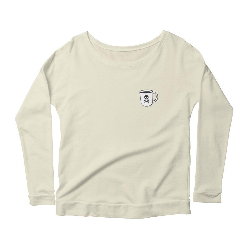Coffee & Crossbones Women's Scoop Neck Longsleeve T-Shirt by Ominous Artist Shop