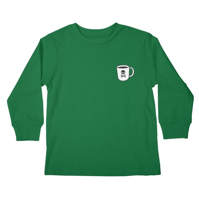 Coffee & Crossbones Kids Longsleeve T-Shirt by Ominous Artist Shop