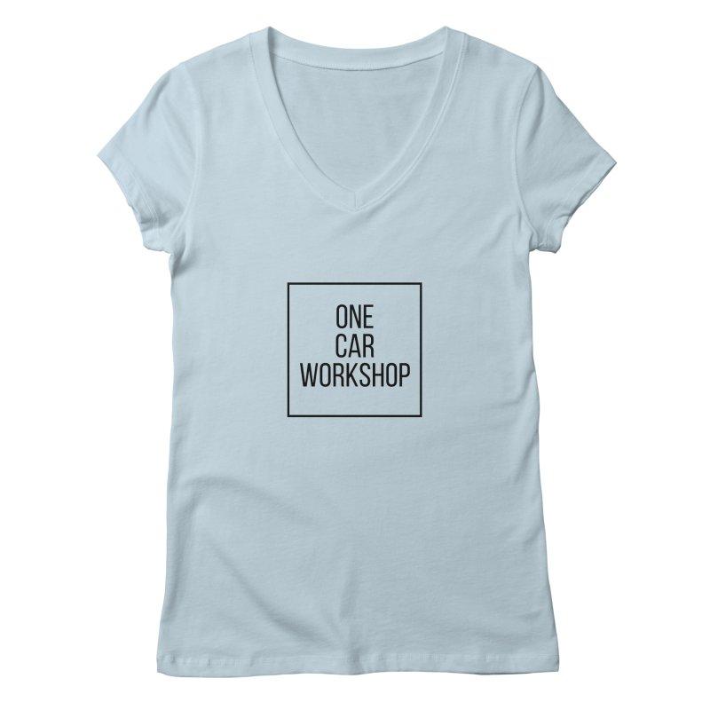 One Car Workshop Logo Black Women's V-Neck by One Car Workshop Store