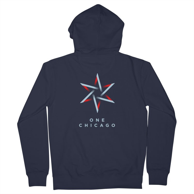 One Chicago Logo - Blue Men's French Terry Zip-Up Hoody by One Chicago Shop