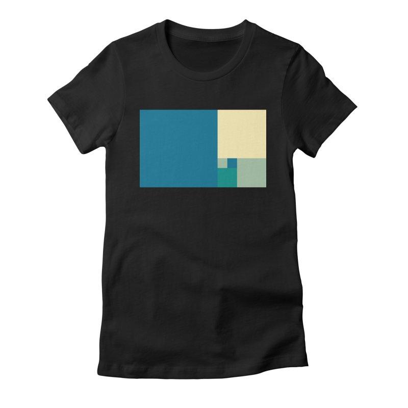 Golden blocks Women's Fitted T-Shirt by onedrop's Artist Shop