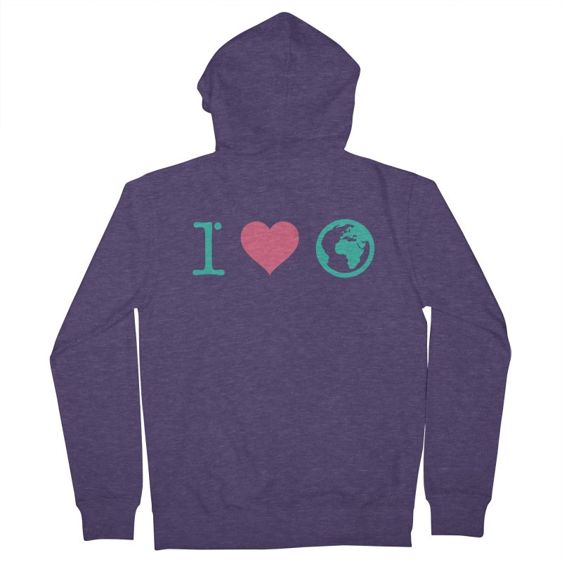 I Love Earth Men's French Terry Zip-Up Hoody by ONEELL