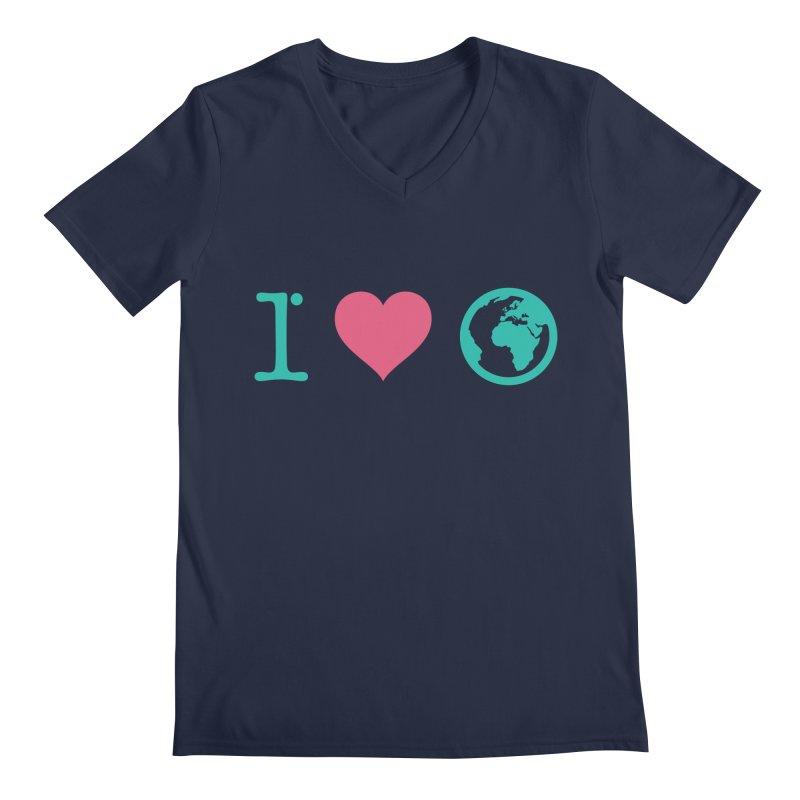 I Love Earth Men's Regular V-Neck by ONEELL