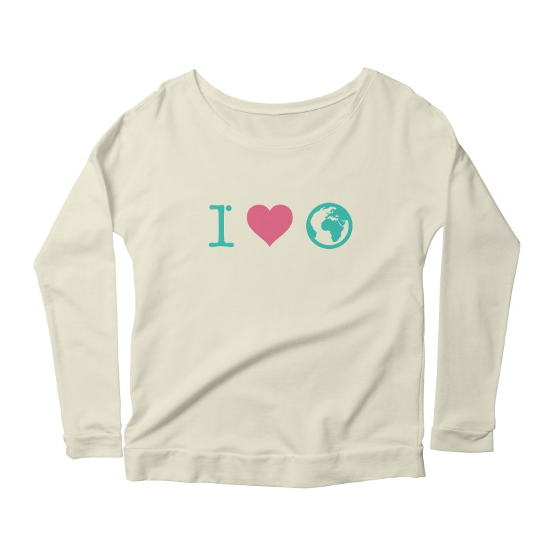 I Love Earth in Women's Longsleeve Scoopneck  Natural by ONEELL